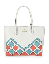 Nanette Lepore Charlotte Leather Tote White Applique