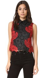 Alice Olivia Harriette Collared Lace Tank Black Ruby