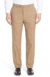 Men's Hart Schaffner Marx Flat Front Solid Stretch Wool Trousers