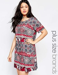 Pink Clove Tile Print Shift Dress Multi