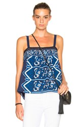 Sea Embroidered Tank Top In Blue Floral Blue Floral