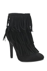 Nature Breeze High Point Suede Fringe Heel Stiletto Bootie Black