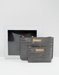 Carvela Mock Croc Pouch And Zip Coin Purse In Gift Box Grey