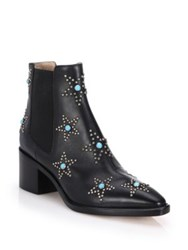 Valentino Star Studded Leather Booties Black