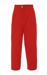 Manoush Peg Leg Cropped Trousers Red