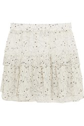 See By Chloe Ruffled Printed Chiffon Mini Skirt