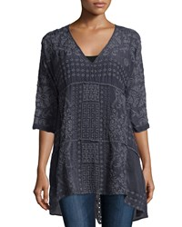 Johnny Was Half Sleeve Long Embroidered Tunic Women's Grey Onyx
