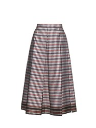 N 21 Cotton And Silk Blend Checked Skirt