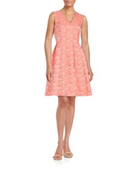 Ellen Tracy V Neck Floral Fit And Flare Dress Coral
