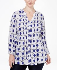 Melissa Mccarthy Seven7 Trendy Plus Size Printed Pintucked Blouse Blue