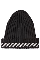 Off White Ribbed Hat With Cashmere Black