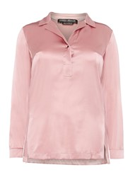Marina Rinaldi Betulla Silk Long Sleeve Plain Shirt Pink