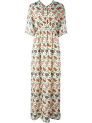 Tory Burch 'Antiquity' V Neck Wide Sleeve Maxi Dress Multicolour