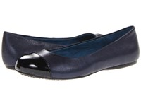 Softwalk Napa Dark Blue Pearlized Leather Black Patent Man Made Women's Flat Shoes