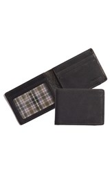 Men's Boconi 'Leon Slimster' Leather Wallet Black Black Green Plaid