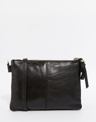 Oasis Real Leather Cross Body Bag Black