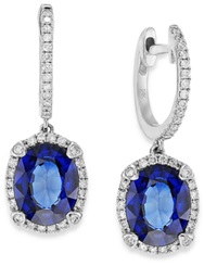 Effy Collection Velvet Bleu By Effy Manufactured Diffused Sapphire 3 3 4 Ct. T.W. And Diamond 1 3 Ct. T.W. Oval Earrings In 14K White Gold Blue