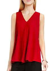 Vince Camuto V Neck Drape Front Blouse Red