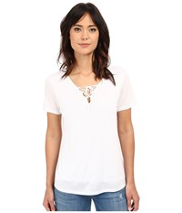 Lanston Lace Up Tee White Women's T Shirt