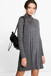 Boohoo Vera Long Sleeve Roll Neck Swing Dress Charcoal
