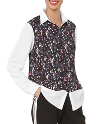 Isaac Mizrahi Printed Button Down Top Black Multi