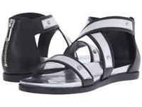 Armani Jeans Leather And Mirror Leather Sandal Black