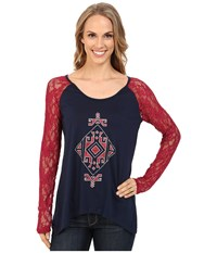 Cruel Tribal Lace Cotton Modal Jersey Navy Women's T Shirt