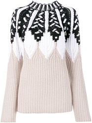 Peter Pilotto Knitted Patterned Jumper Nude And Neutrals