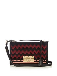 Salvatore Ferragamo Aileen Leather And Suede Shoulder Bag Black Burgundy