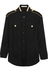 Givenchy Metallic Embroidered Blouse In Black Silk Georgette