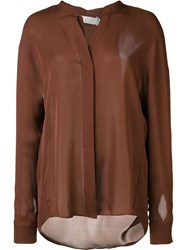 Vince Band Collar Shirt Brown