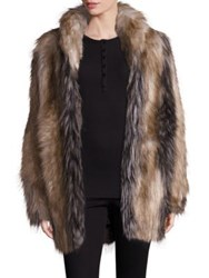 Fabulous Furs Pieced Faux Fur Shawl Collar Coat Natural