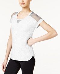 Ideology Striped Mesh T Shirt Only At Macy's Bright White Heather
