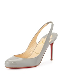 Fifi Patent Slingback Red Sole Pump Gray Christian Louboutin