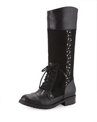 Elie Tahari Faux Leather Riding Boot Black Youth Women's