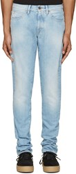 Off White Blue Brushed Diagonals Jeans