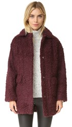 Opening Ceremony Mariko Faux Shearling Coat Plum Purple