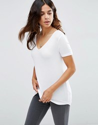 Asos The New Forever T Shirt With Short Sleeves And Dip Back White