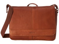 Kenneth Cole Reaction Risky Business Colombian Leather Flapover Messenger Bag Cognac Messenger Bags Tan