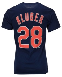 Majestic Men's Corey Kluber Cleveland Indians Player T Shirt Navy