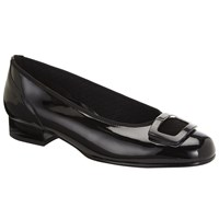 Gabor Frenzy Wide Fit Block Heel Pumps Black Patent