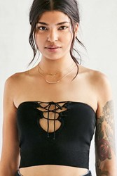 Silence And Noise Alexia Lace Up Tube Top Black