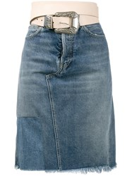 Golden Goose Deluxe Brand Belted Denim Skirt Blue