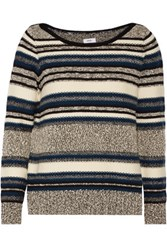 Vince Boucle Trimmed Wool Blend Sweater Cream