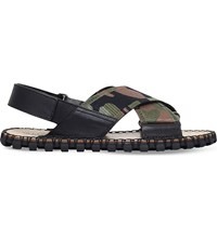 Valentino Camouflage Print Leather Criss Cross Sandals Khaki