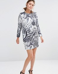 See U Soon Shift Dress In Zebra Print Off White Black