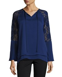 Neiman Marcus Lace Bell Sleeve Top Blue