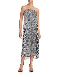 Paula Hermanny Strapless Mixed Print Silk Dress Black White