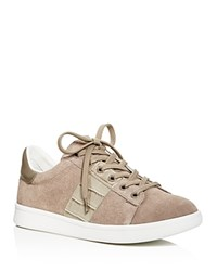 Sam Edelman Marquette Croc Embossed Lace Up Sneakers Putty