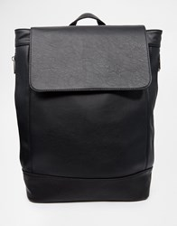 River Island Faux Leather Rucksack With Side Zip Detailing Black